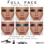 Ethnic Set MAKE UPS - EyeShadow and Lipstick in Six tattoo layer Style
